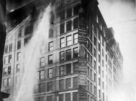 New York's Asch building fire where the Triangle waistshirt factory was located.  1911