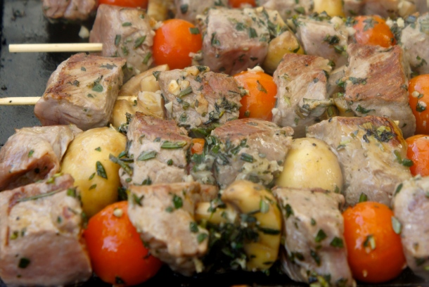 Tender chargrilled lamb skewers with mushrooms and cherry tomatoes. Photo JEE