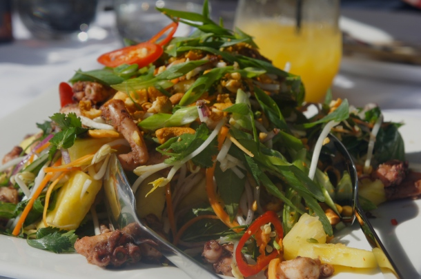 Zingy marinated octopus salad. It was a feast for the eyes as well as the mouth where it quickly disappeared. Photo JEE