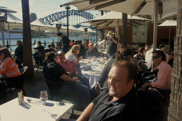 Sydney Cove Oyster Bar on a lovely Spring afternoon celebrating the harbourside beach barbie. Photo by JEE